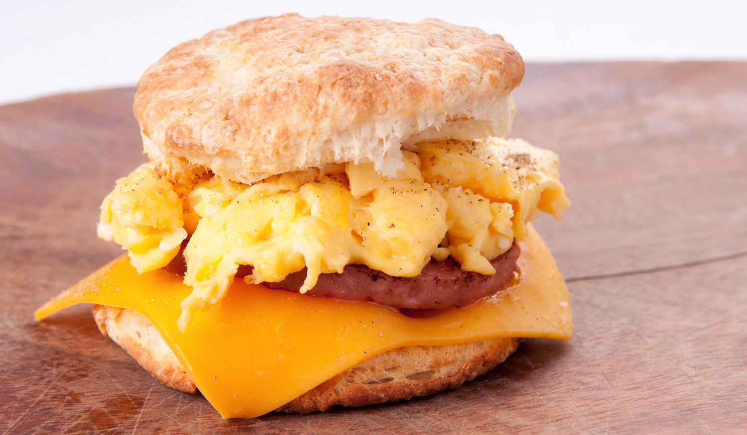 Sausage on a biscuit with cheese